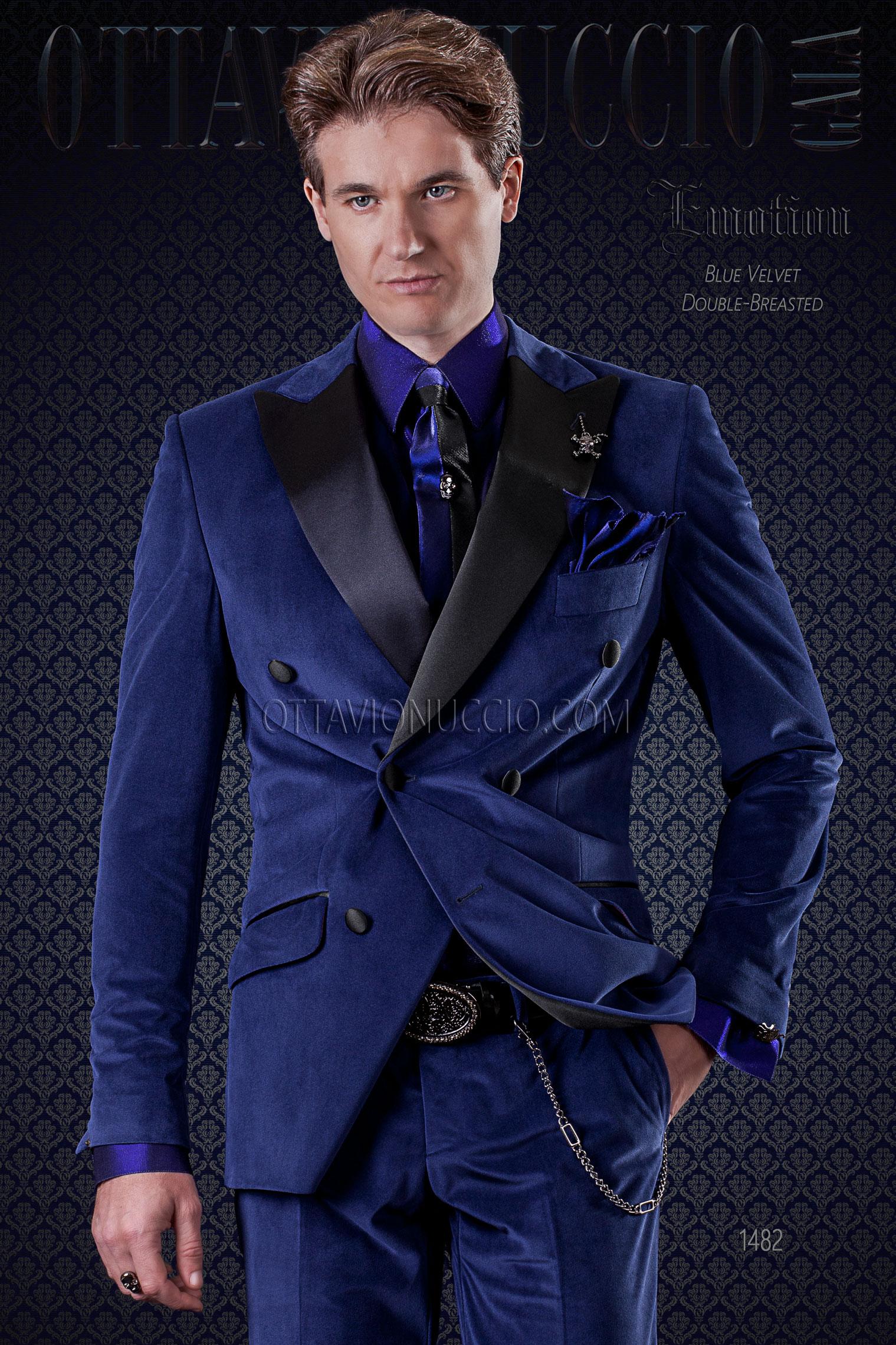 Italienische zweireihig Mode Anzug blau aus Samt mit Satin Revers