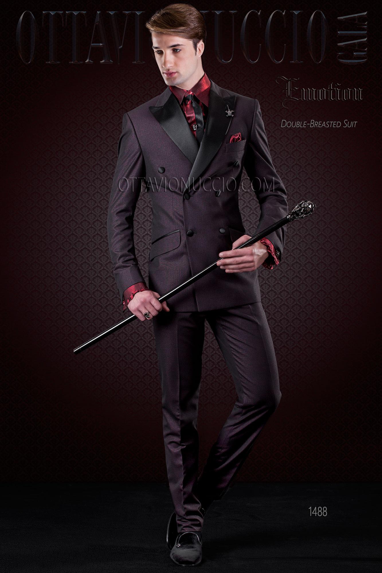 zweireihig mode anzug schwarz und rot mit satin revers. Black Bedroom Furniture Sets. Home Design Ideas