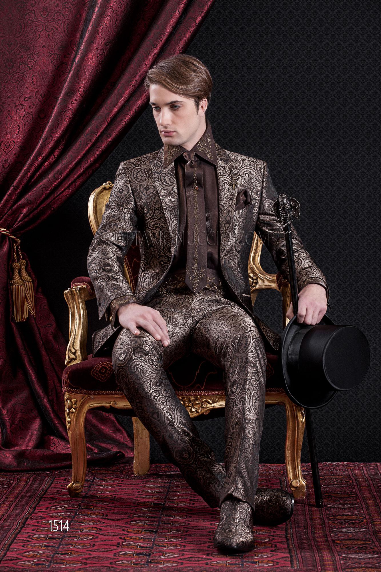 traje delgada de de marrón boda damasco barroco Chaqueta wvON0nm8