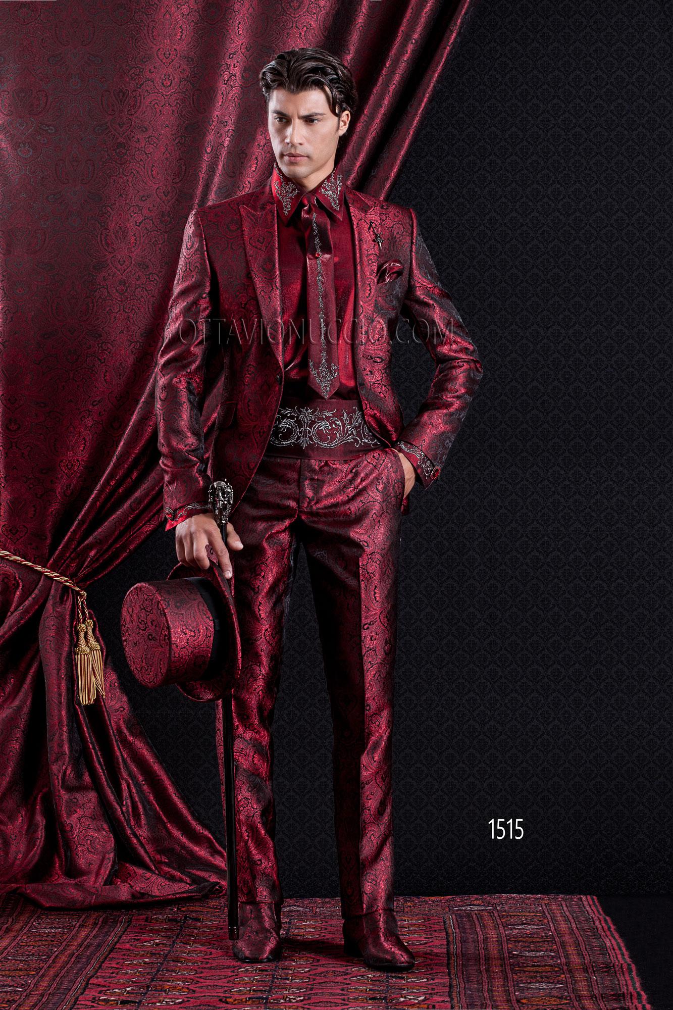 Abito Matrimonio Uomo Rosso : Sposo rosso barocco slim giacca damascato abito wdfboqw