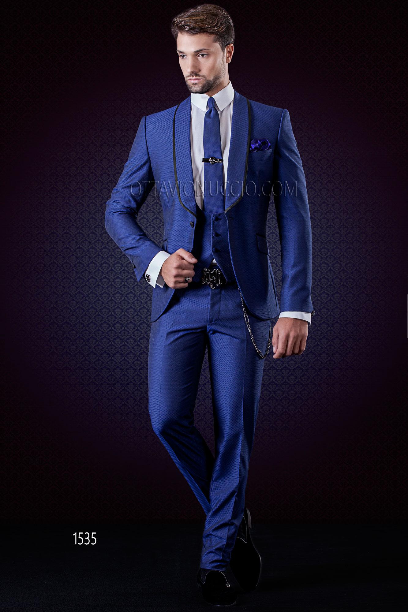 Amato Abito matrimonio uomo blu elettrico collo sciallato BQ25