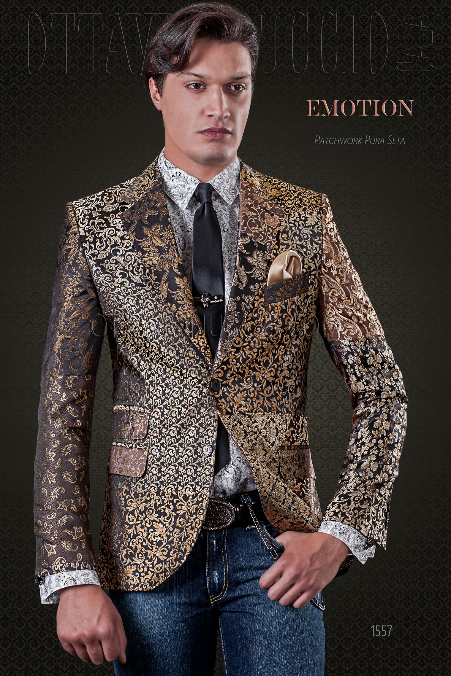 Giacca uomo patchwork in pura seta dorata