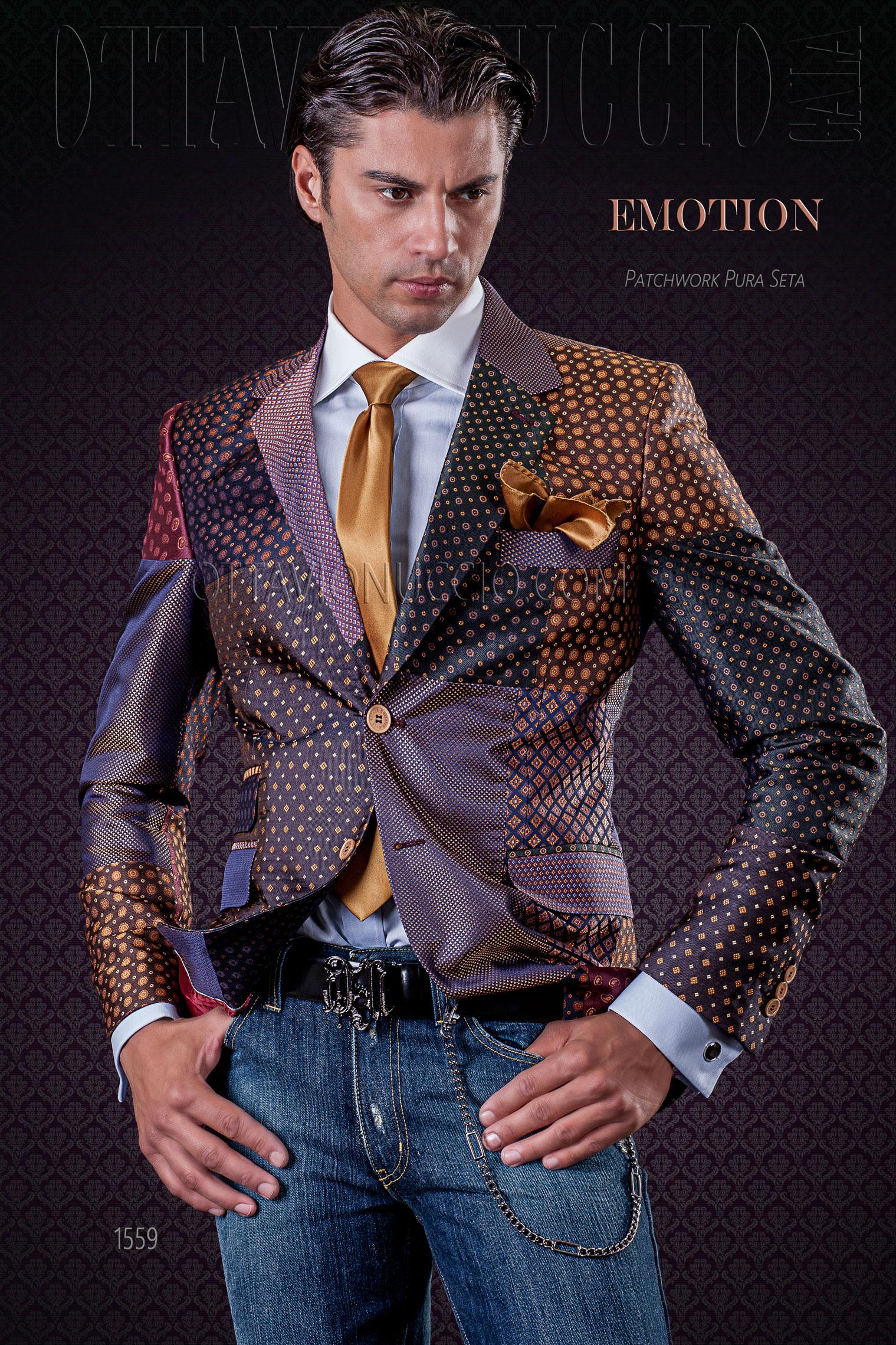 Giacca uomo patchwork in pura seta con micro disegni