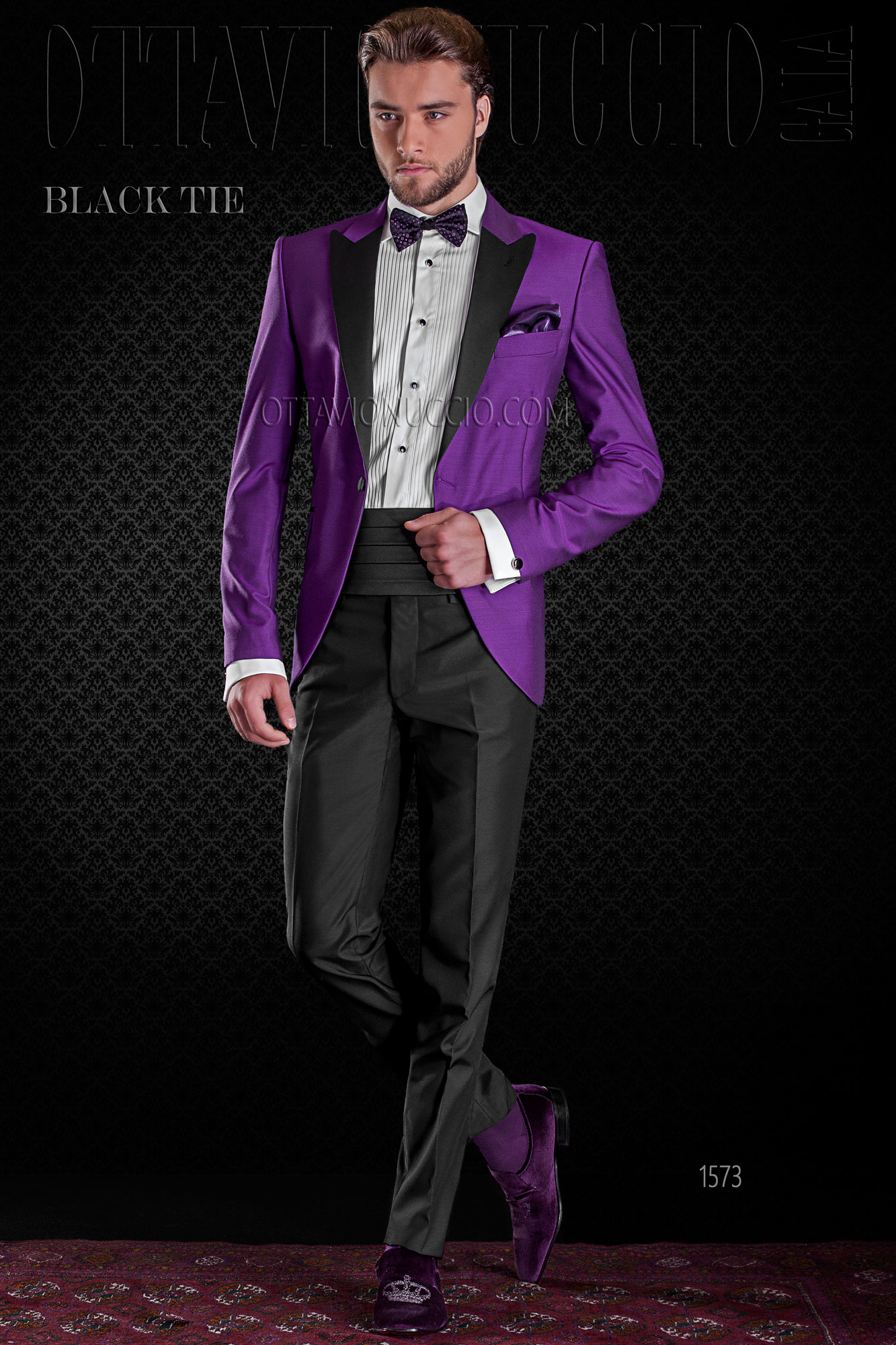 Black and purple peak lapel italian tuxedo