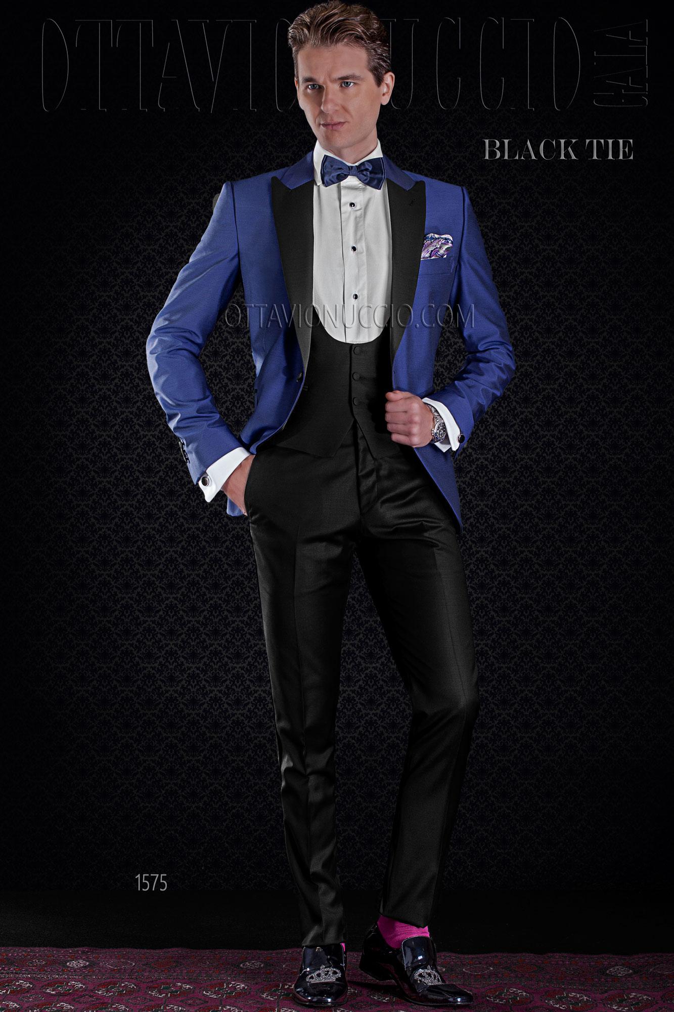 spesso Giacca smoking blu elettrico misto lana con pantalone nero EB78