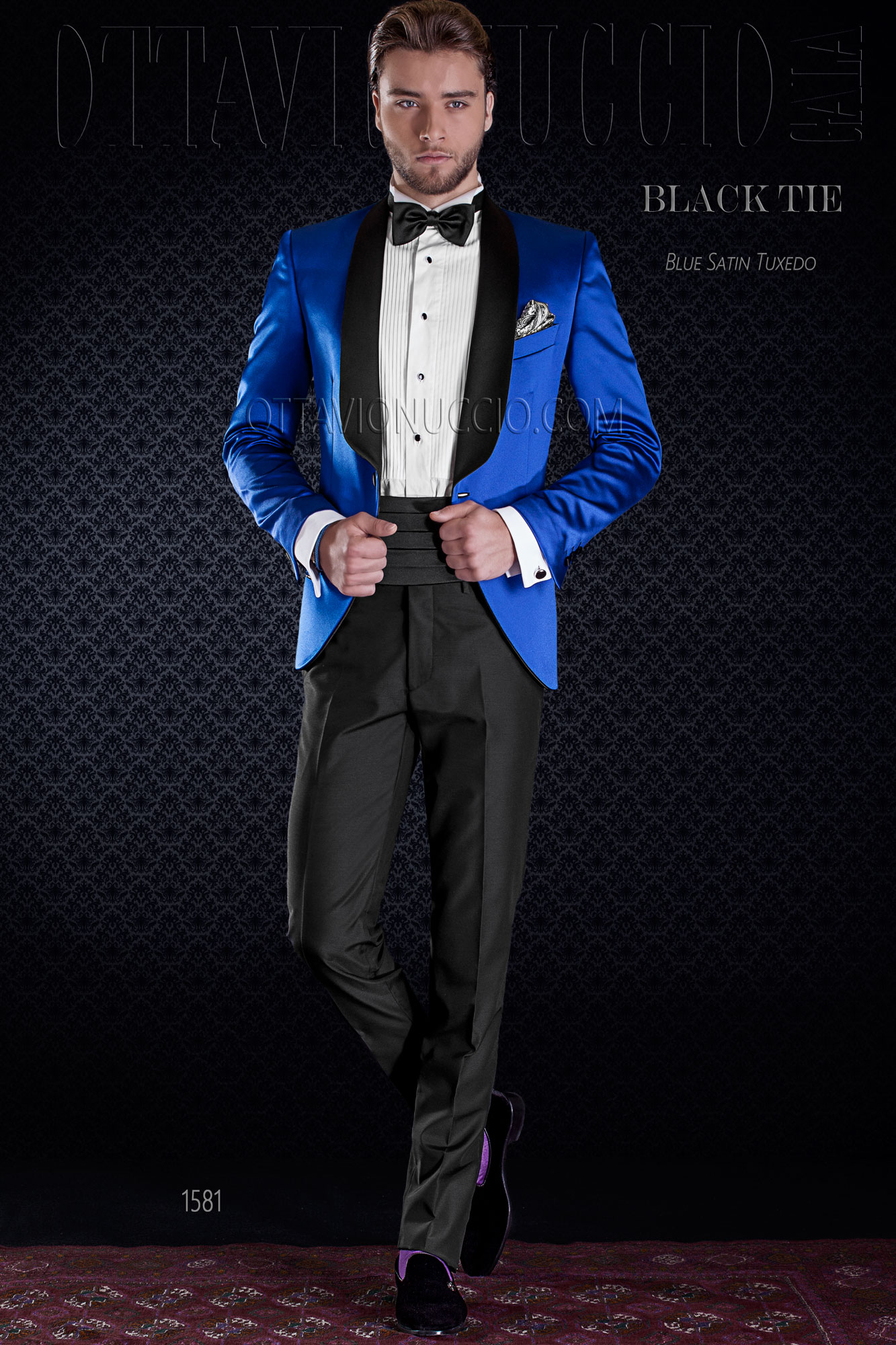 Ben noto Giacca smoking blu elettrico lucida con pantalone nero RQ15