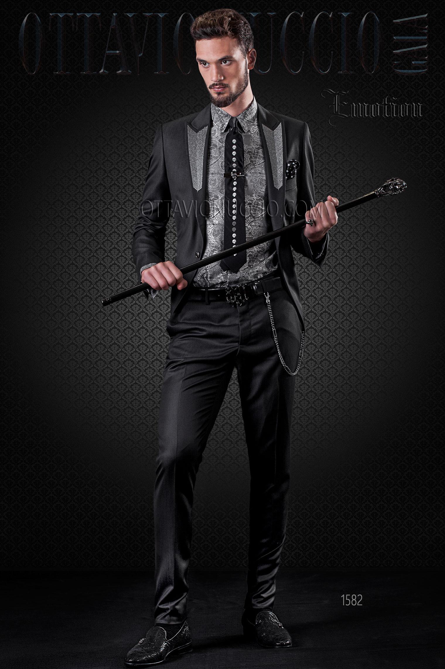 Abito sposo hipster nero con ricami argento sul rever - Hipster anzug ...