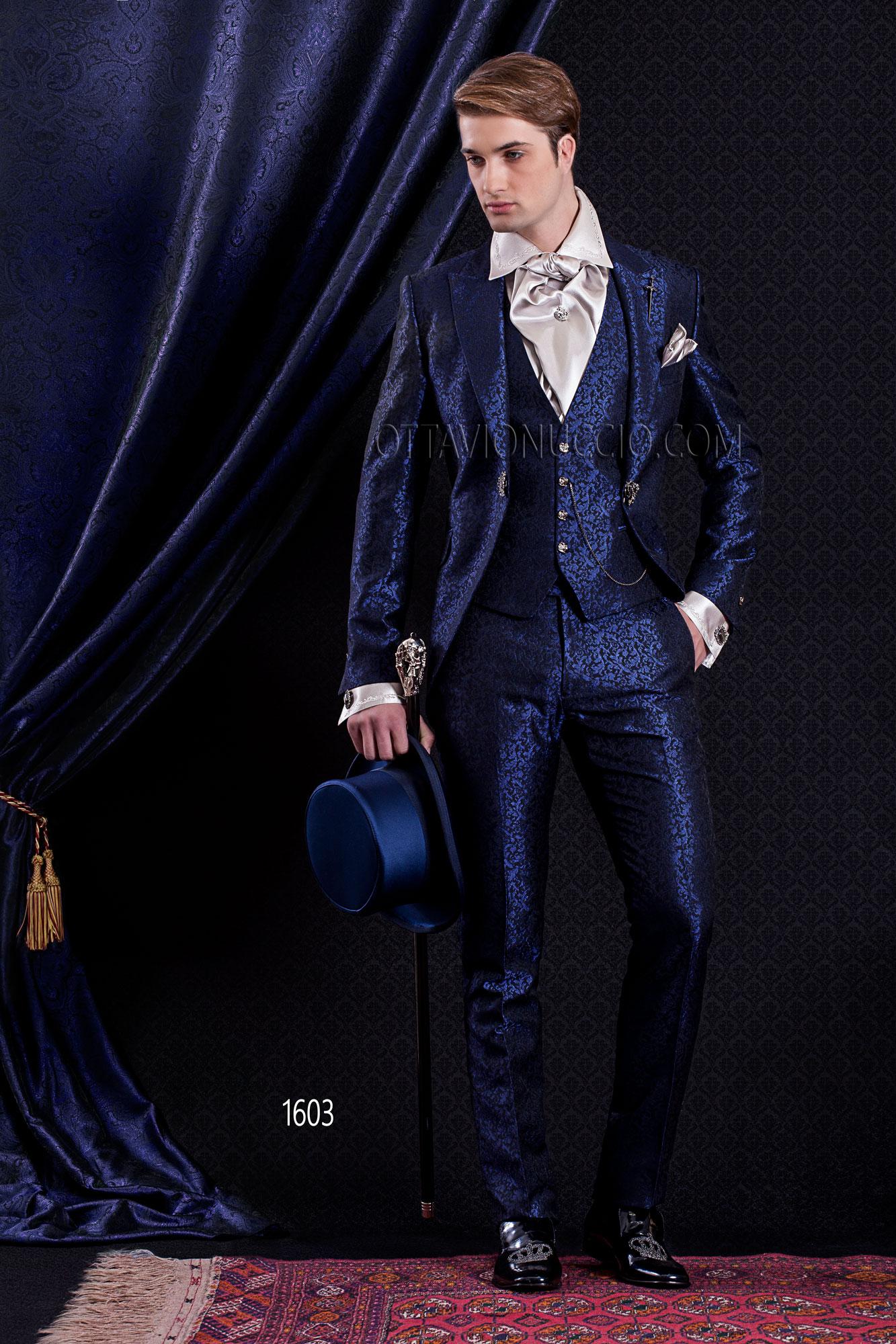 Royal blue peak lapel brocade italian wedding suit