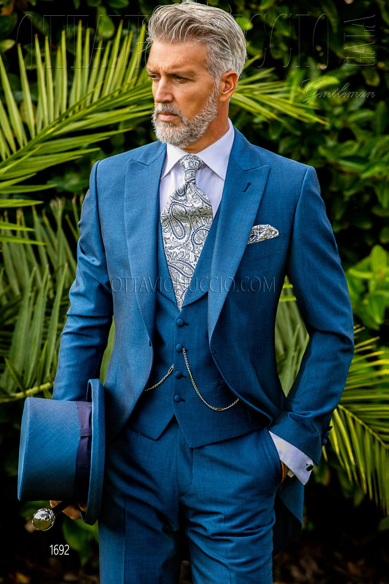 Blue royal peak lapel Italian morning suit