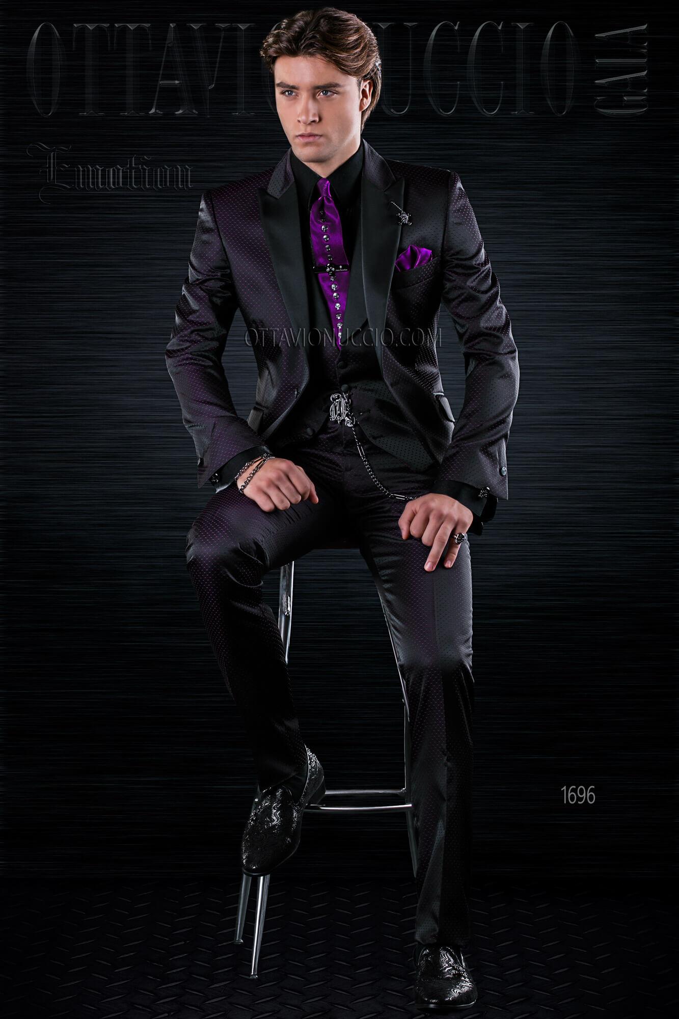 Black patterned Italian groom suit