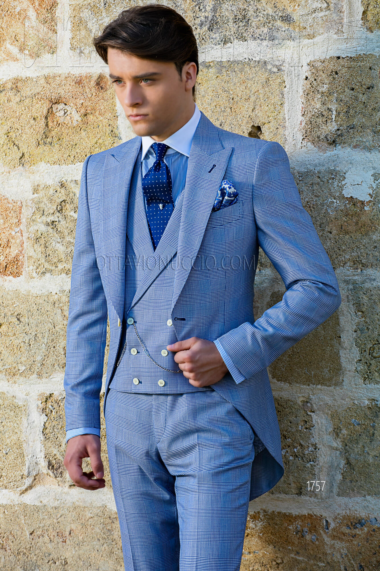 Blue Prince of Wales short tail groom suit