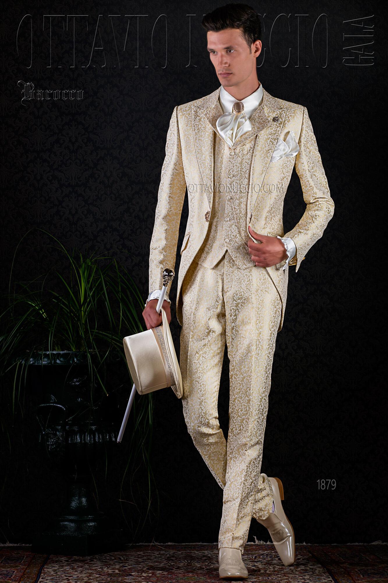 dorado Traje boda de hombre damasco de vintage para BrCxdoe