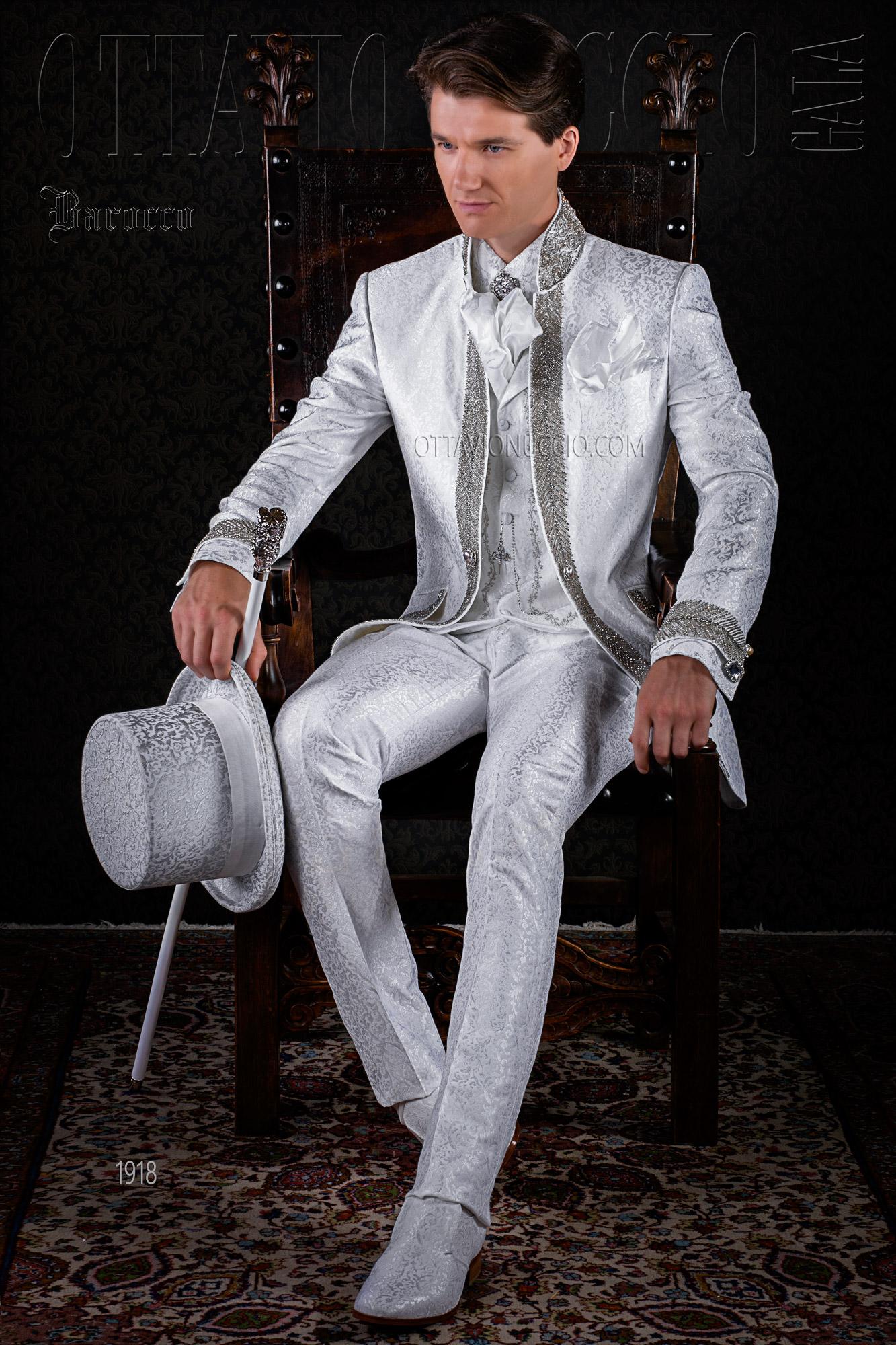 Vestito sposo damascato bianco collo coreano luxury 6073381bf4d