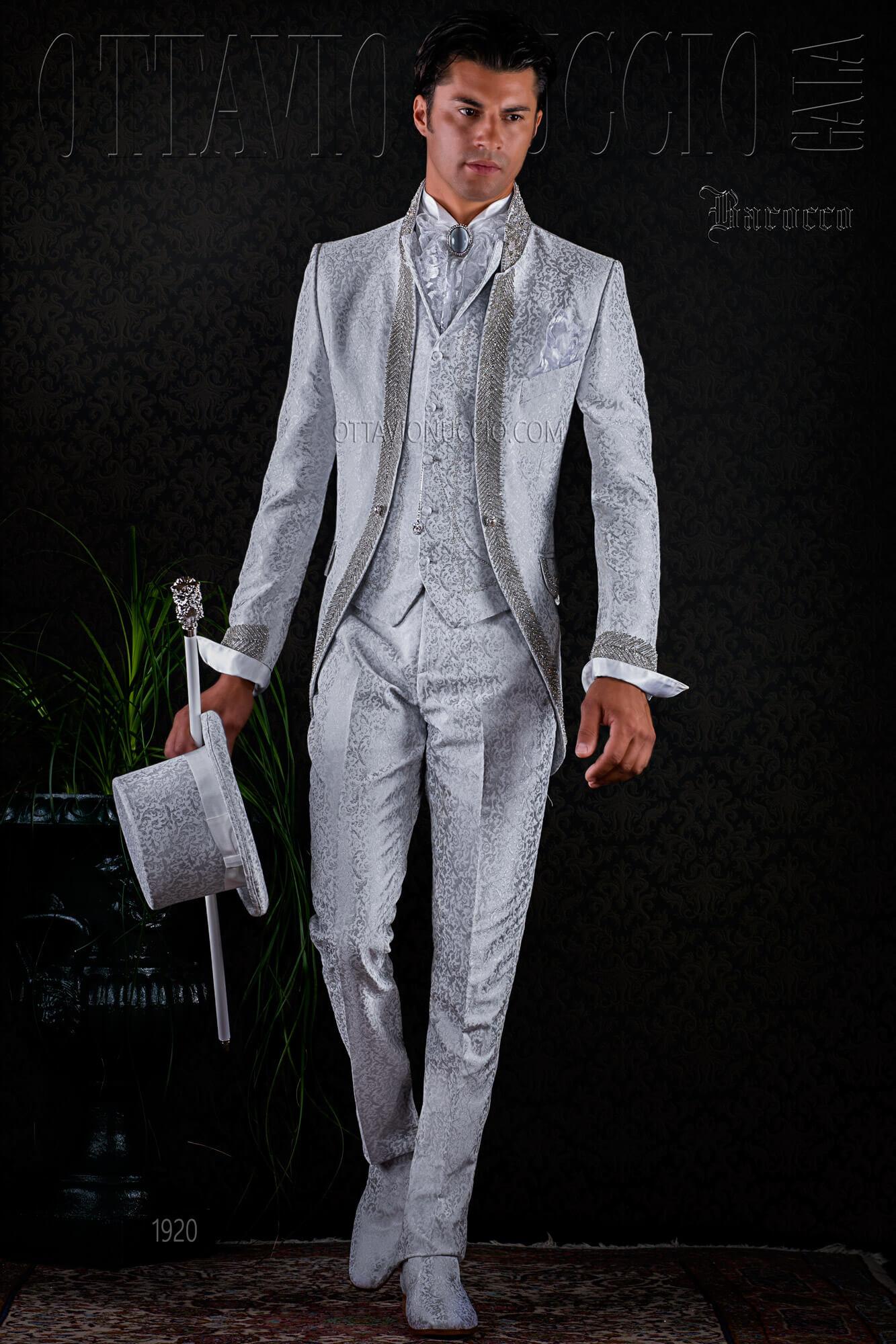 vestito sposo damascato particolare bianco di lusso. Black Bedroom Furniture Sets. Home Design Ideas