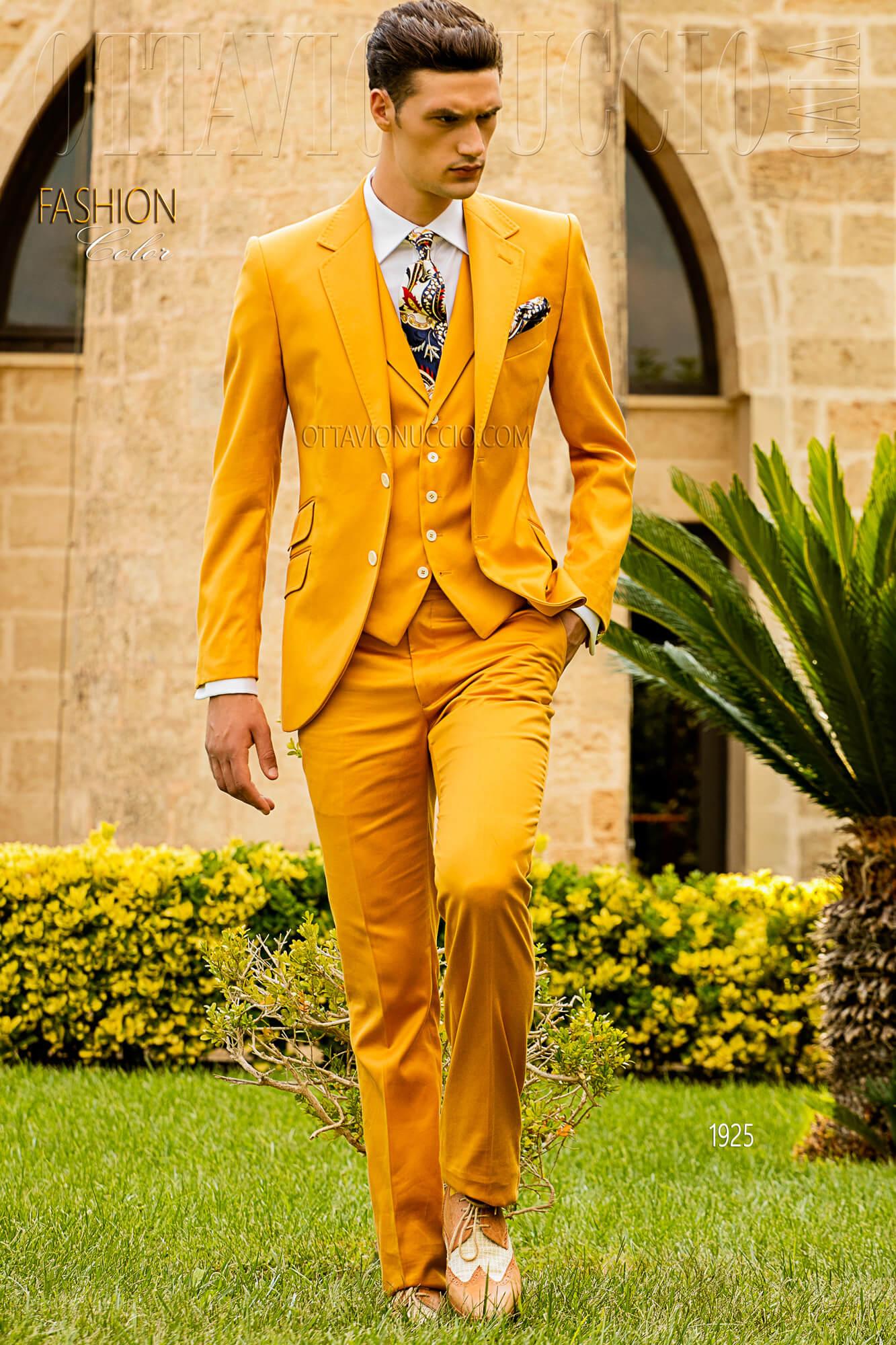 Herren Anzug gelb aus satinierte Baumwolle