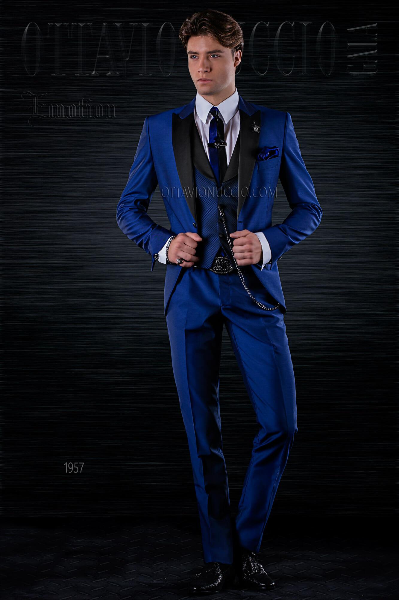 Preferenza Vestito sposo uomo moderno blu e nero slim fit HG18