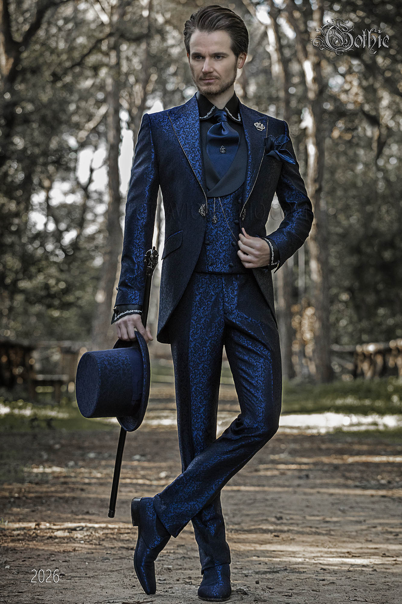 gothic anzug hochzeit blau vintage gehrock blau brokat stoff. Black Bedroom Furniture Sets. Home Design Ideas