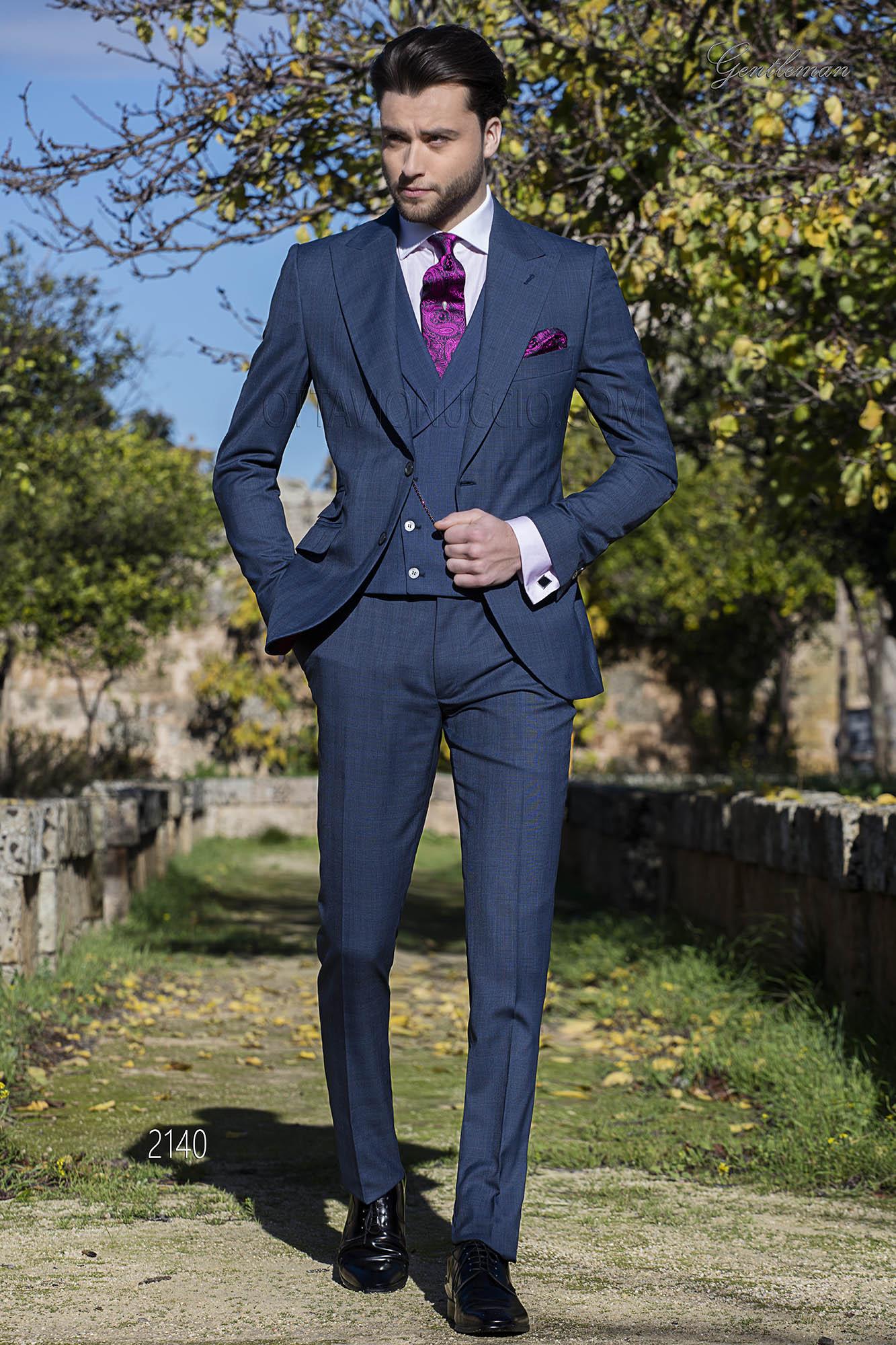 Outfit Matrimonio Uomo Gilet : Costume prince de galles bleu avec gilet croisé mariage