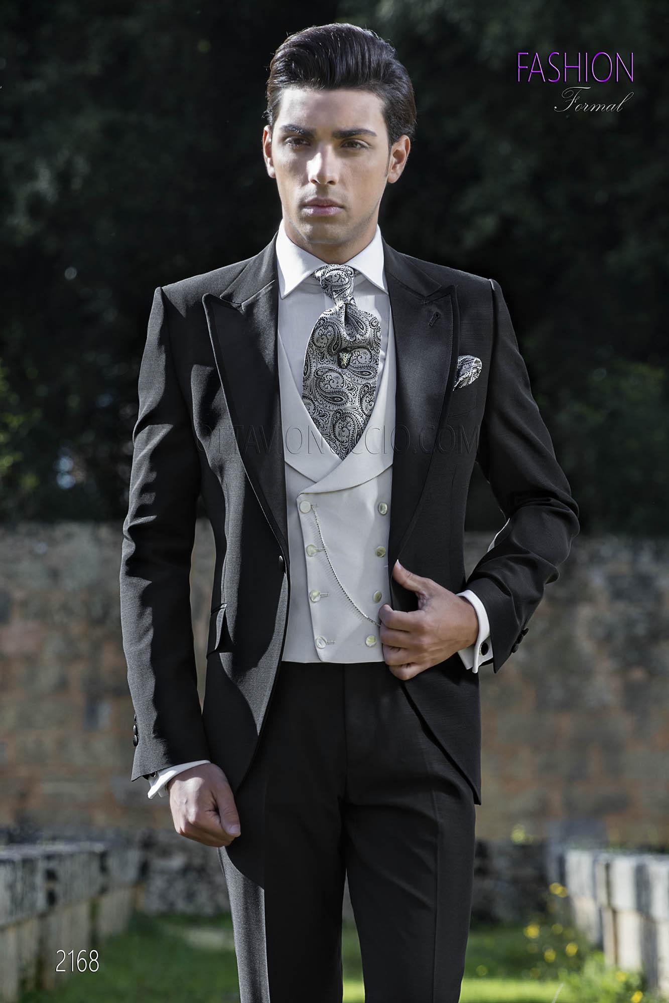 costume homme mariage italien noir avec gilet blanc ivoire. Black Bedroom Furniture Sets. Home Design Ideas