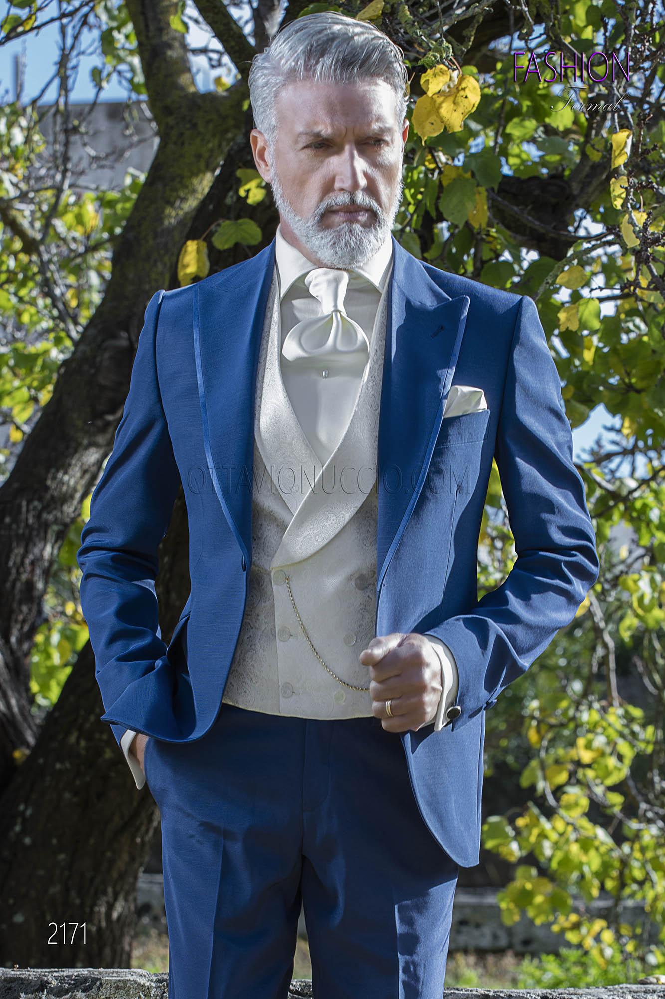 Costume bleu electrique mariage avec gilet blanc crois - Costume bleu electrique ...