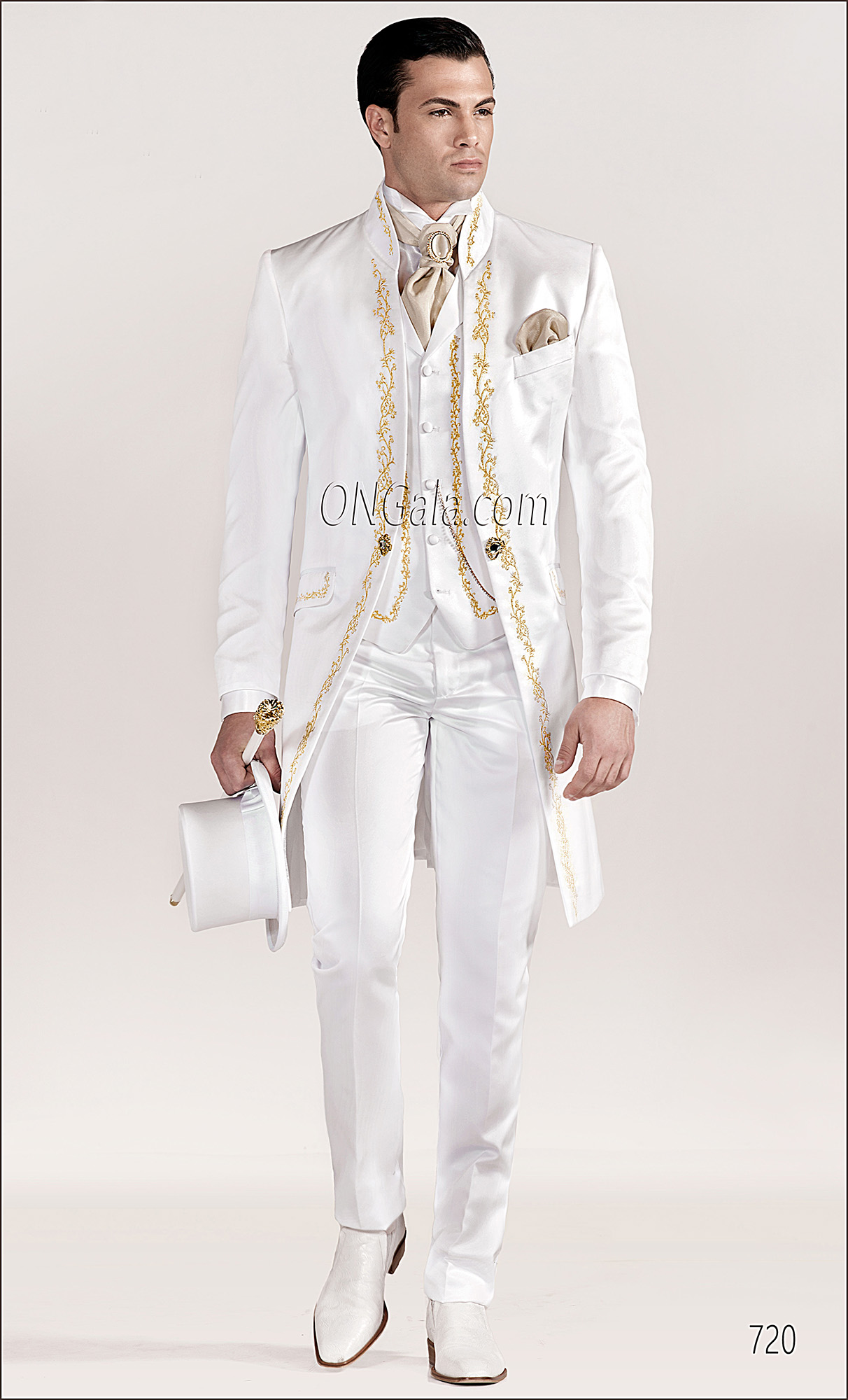 White Wedding Suits for groom with Gold Tone Embroidery