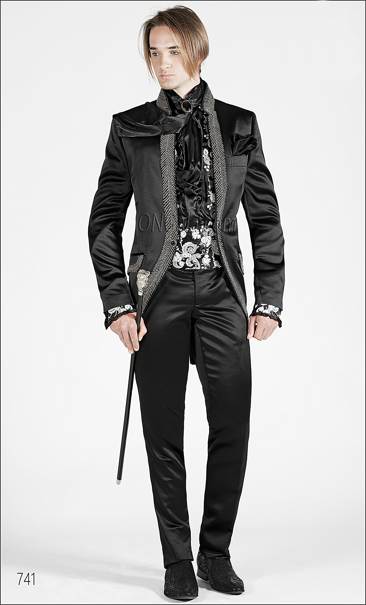 Black Satin wedding Suits for groom with Diamante Trimming