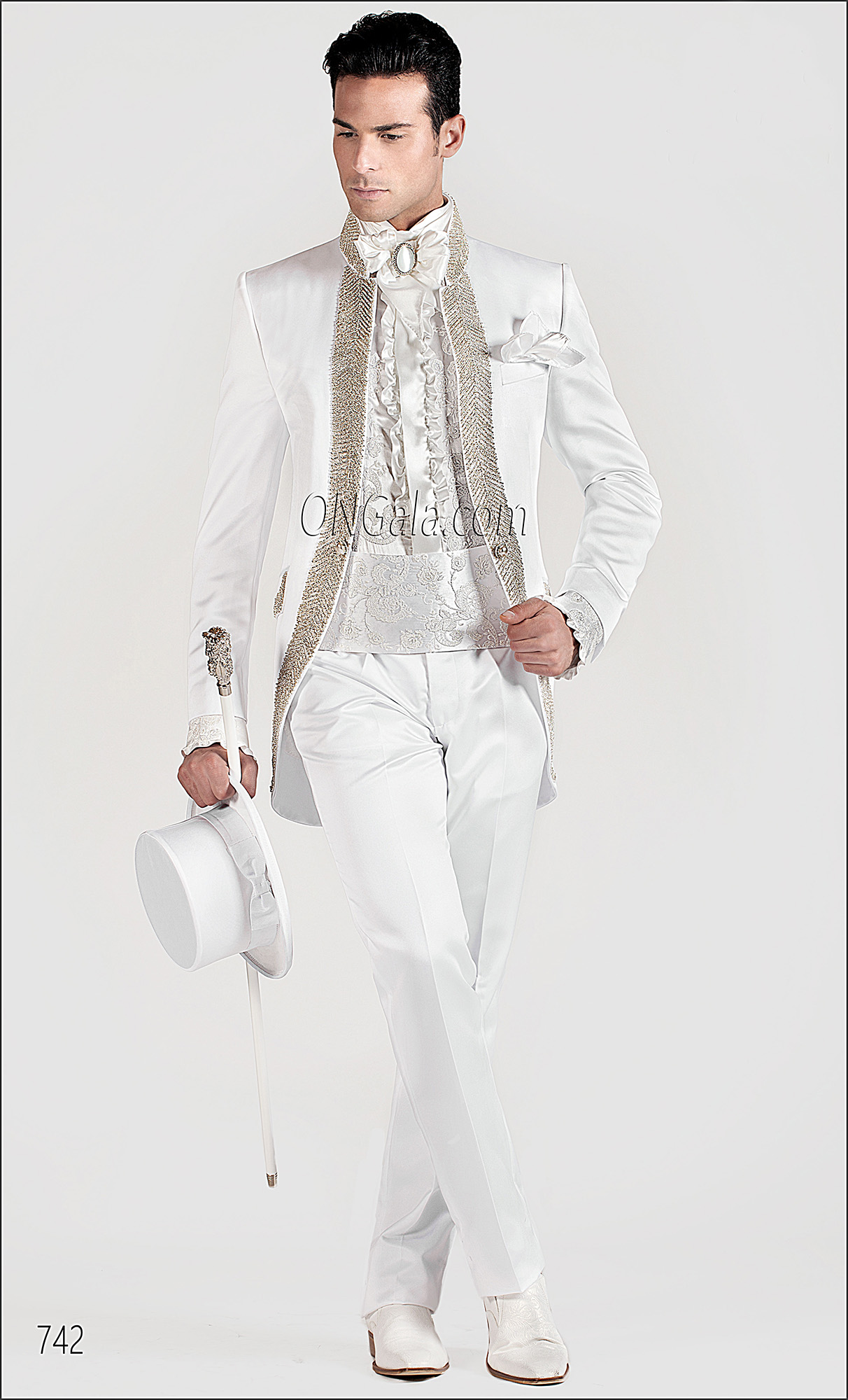 White Satin wedding Suits for groom with Diamante Trimming
