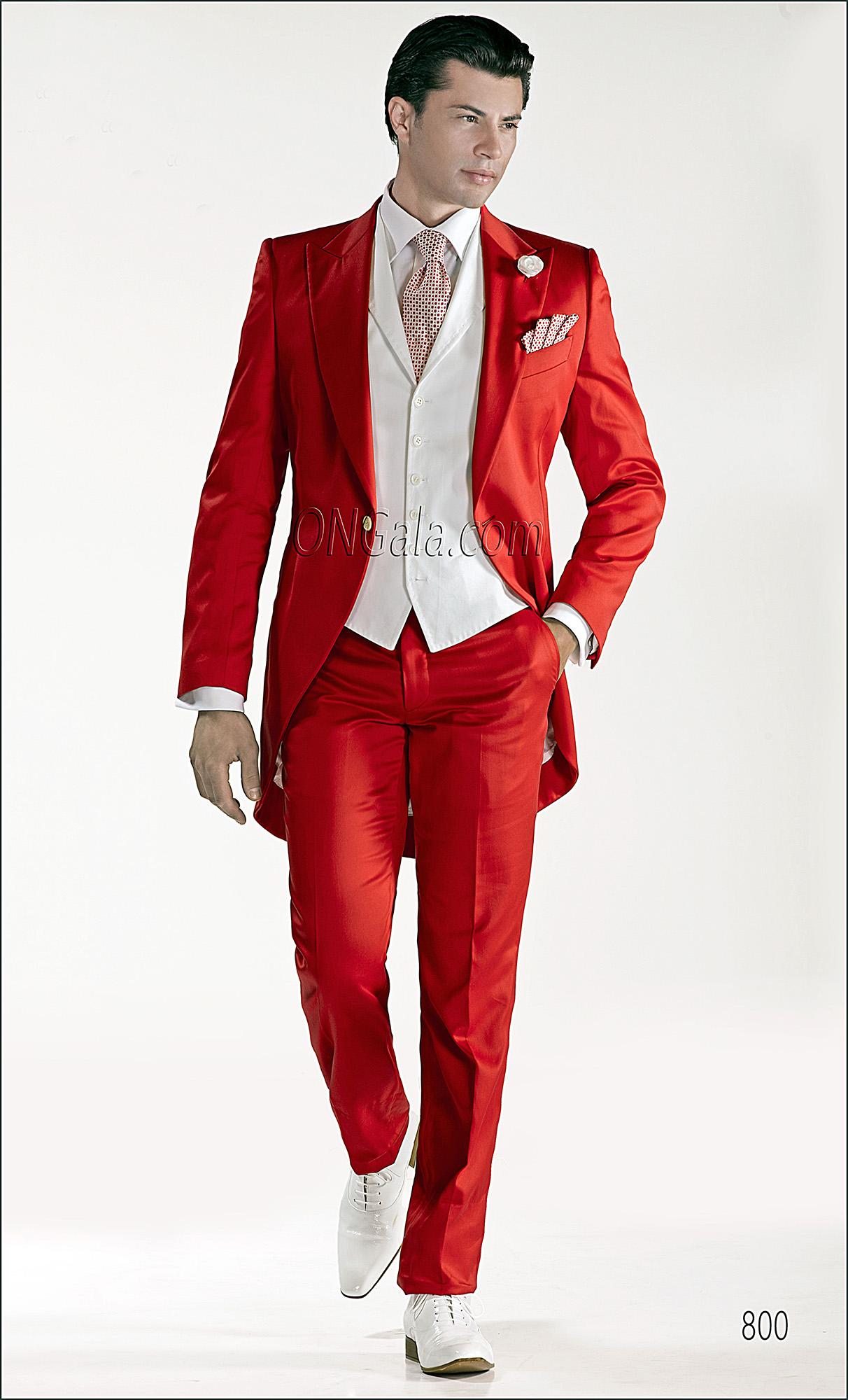 Abito Matrimonio Uomo Rosso : Abito da cerimonia uomo demi tight in raso di cotone rosso