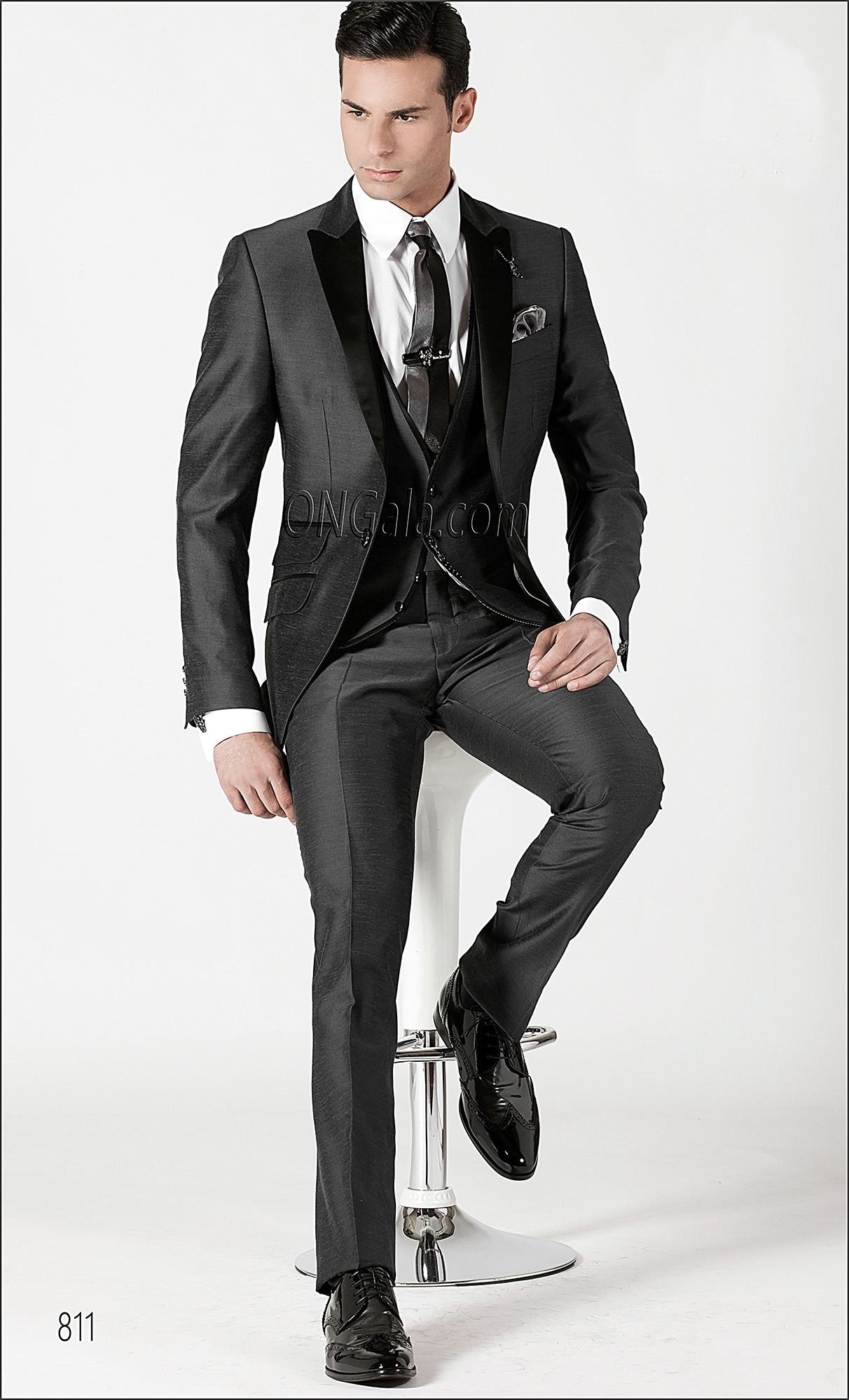 Grey Shantung Italian Wedding Suits