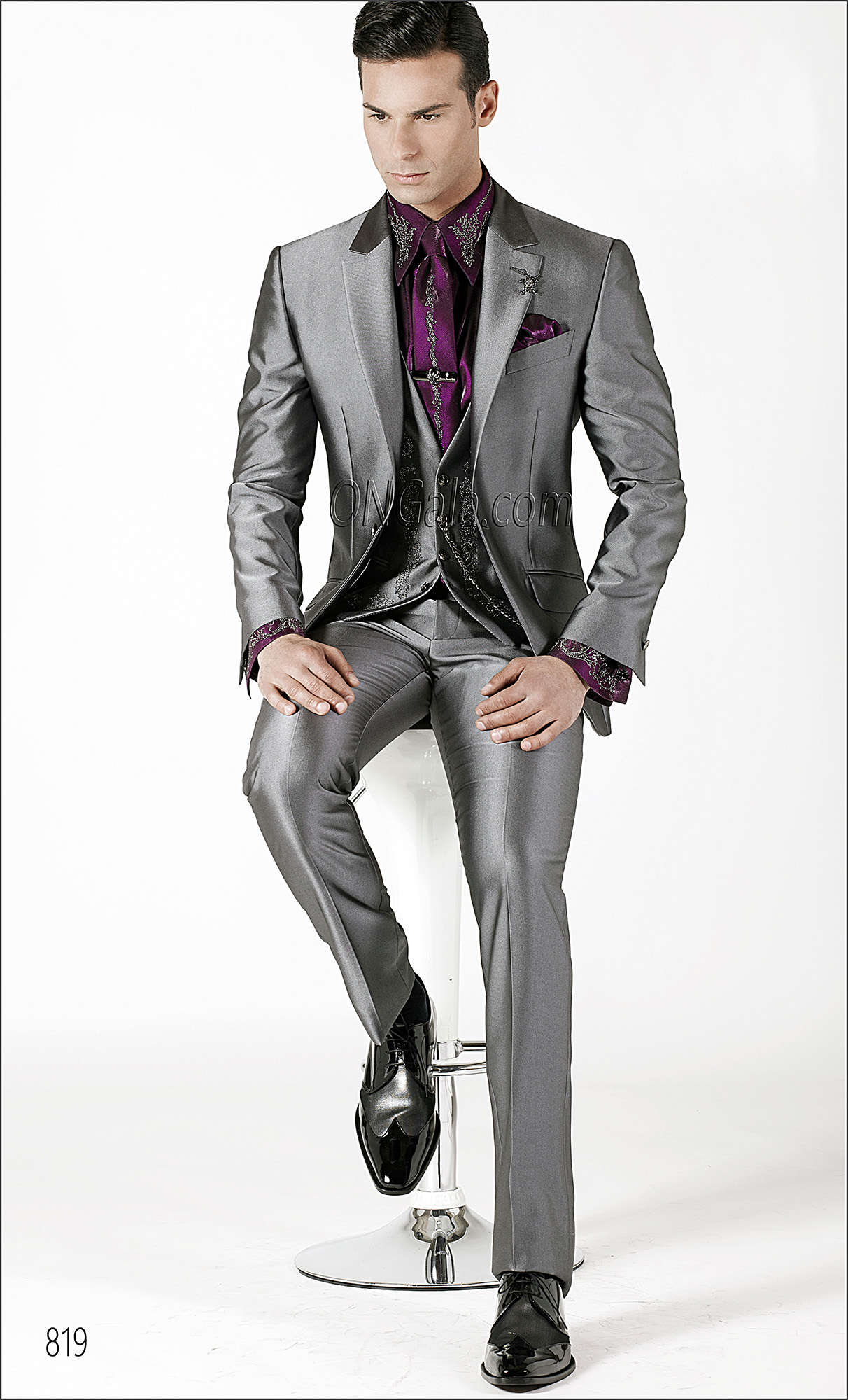 Charcoal Grey Wedding Suits with Embroidered Waistcoat