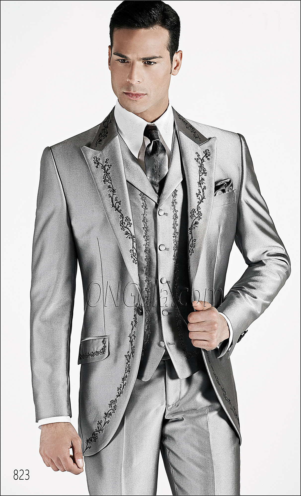 Silver Grey groom Suits with Embroidery