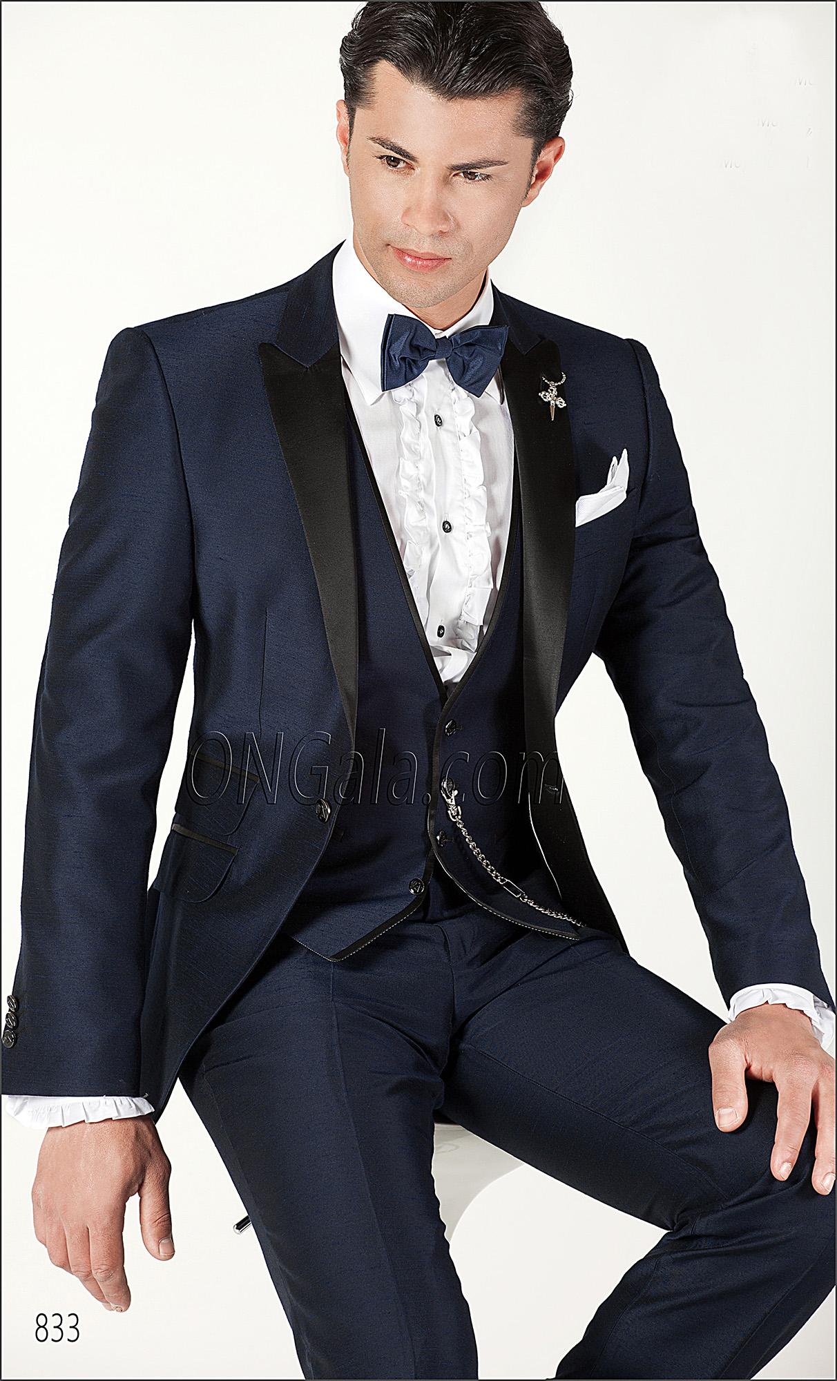 italienischer br utigam anzug blau aus shantung. Black Bedroom Furniture Sets. Home Design Ideas