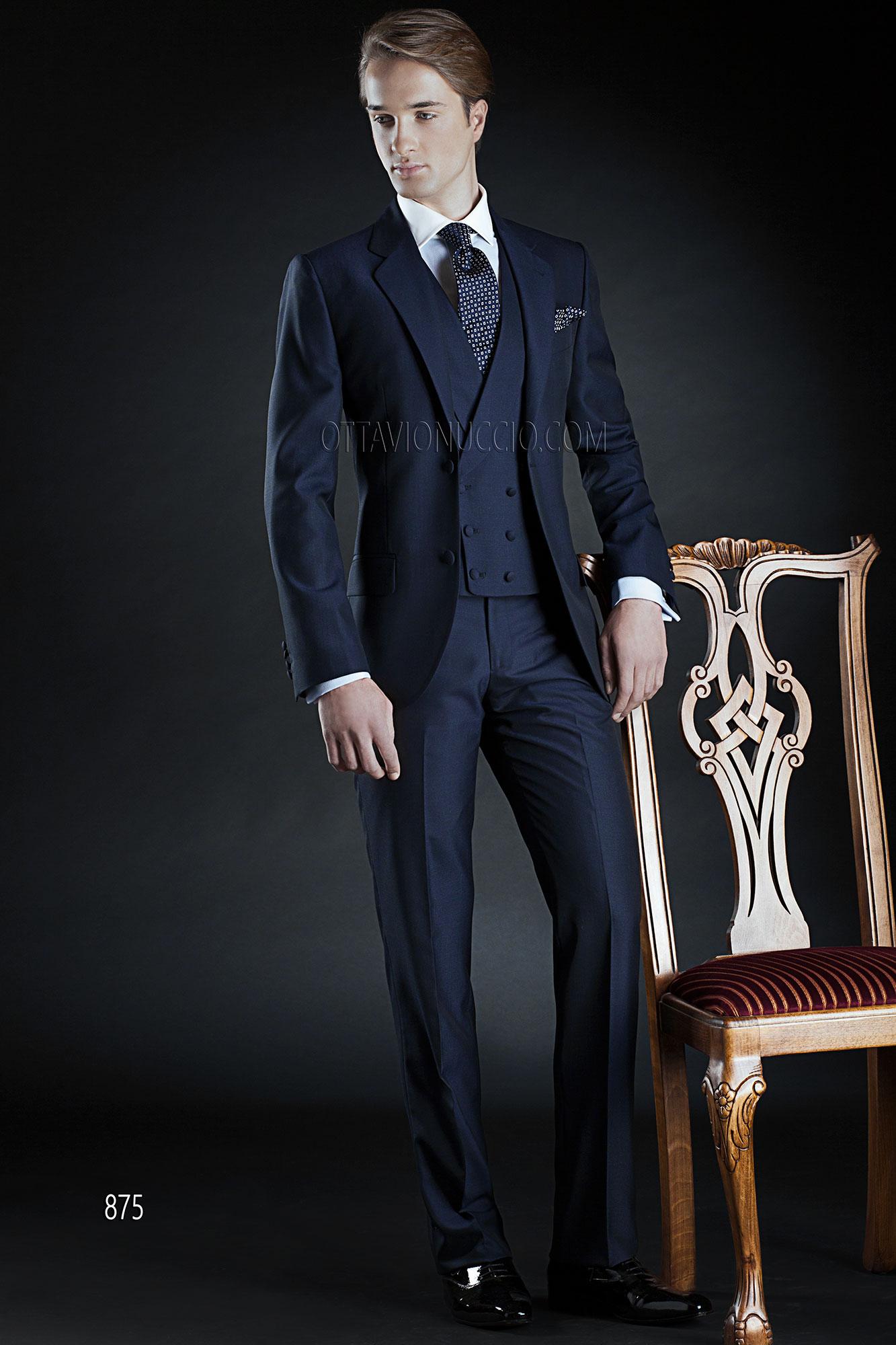 Midnight blue notch lapel groom suit