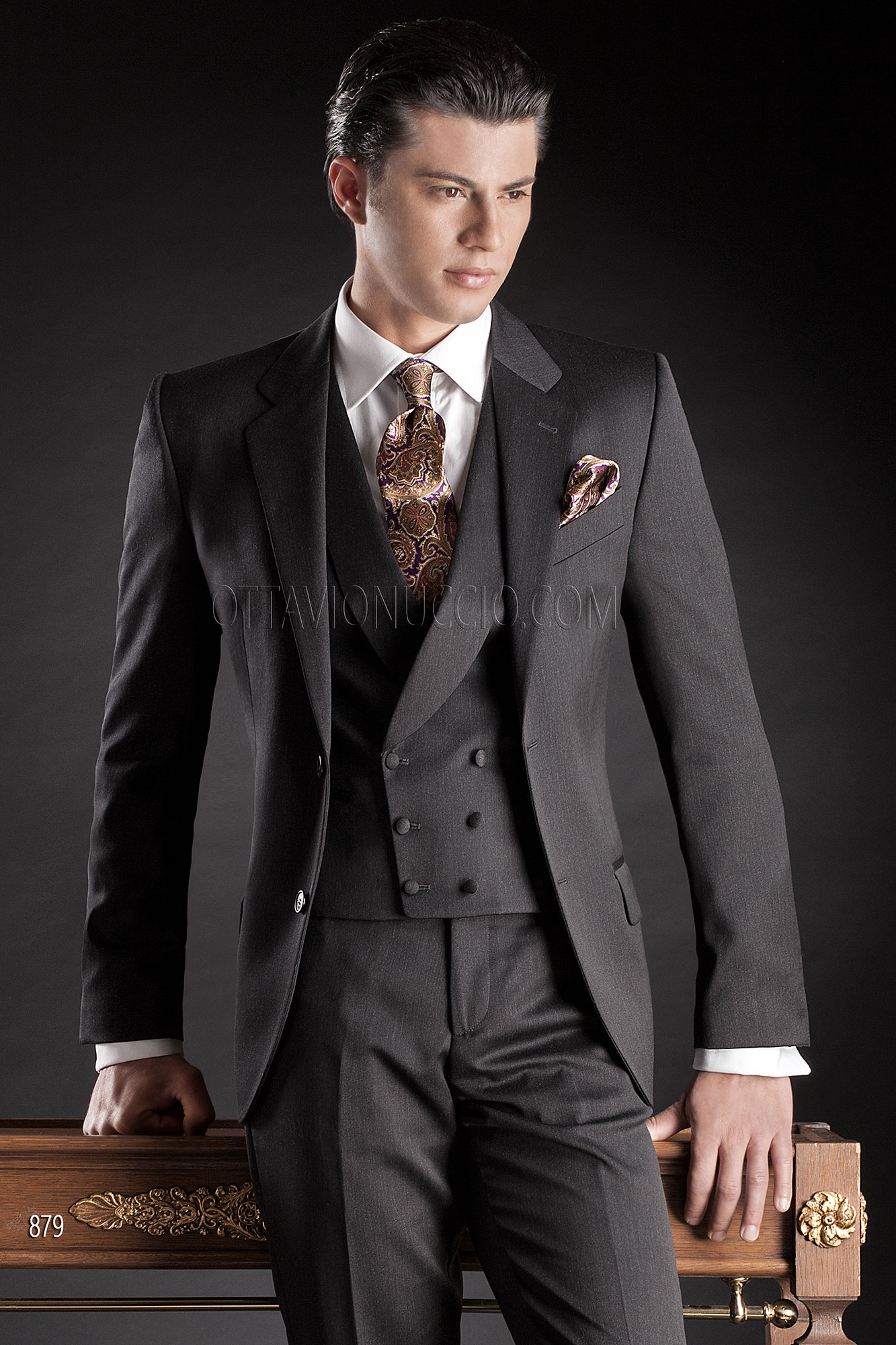 Pure Wool Satin Groom Suits in Grey