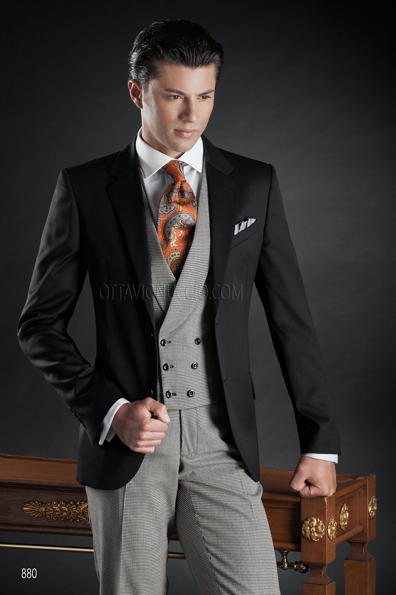 Italian suits with Jacket in Black Wool Satin with Double Breasted ...