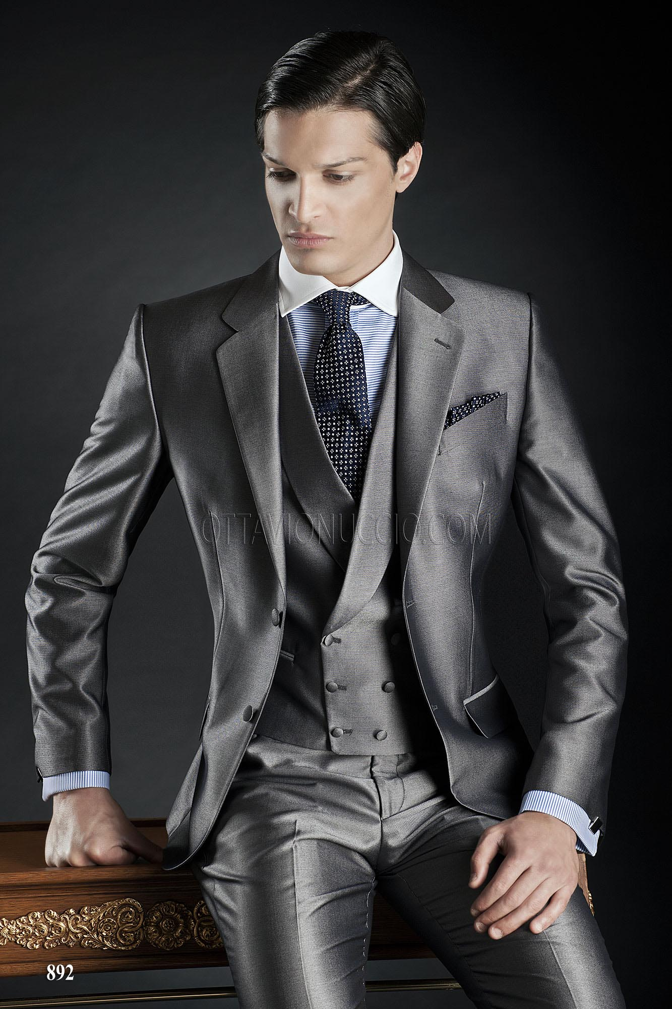 Metallic Grey Italian groom Suits