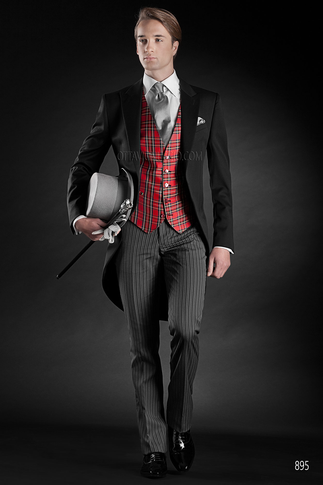 Black morning suit with Jacket in Pure Wool Satin with tartan ...