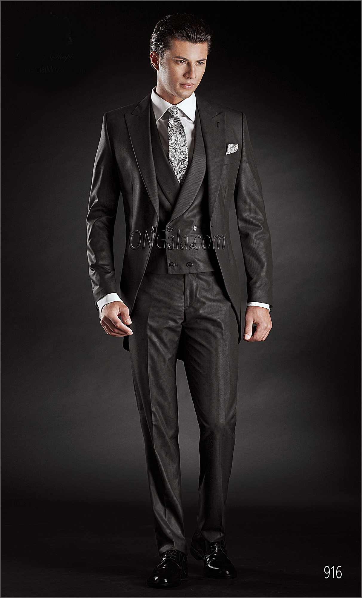 Redingote Short Tailed Suit in Black with Double Breasted Waistcoat