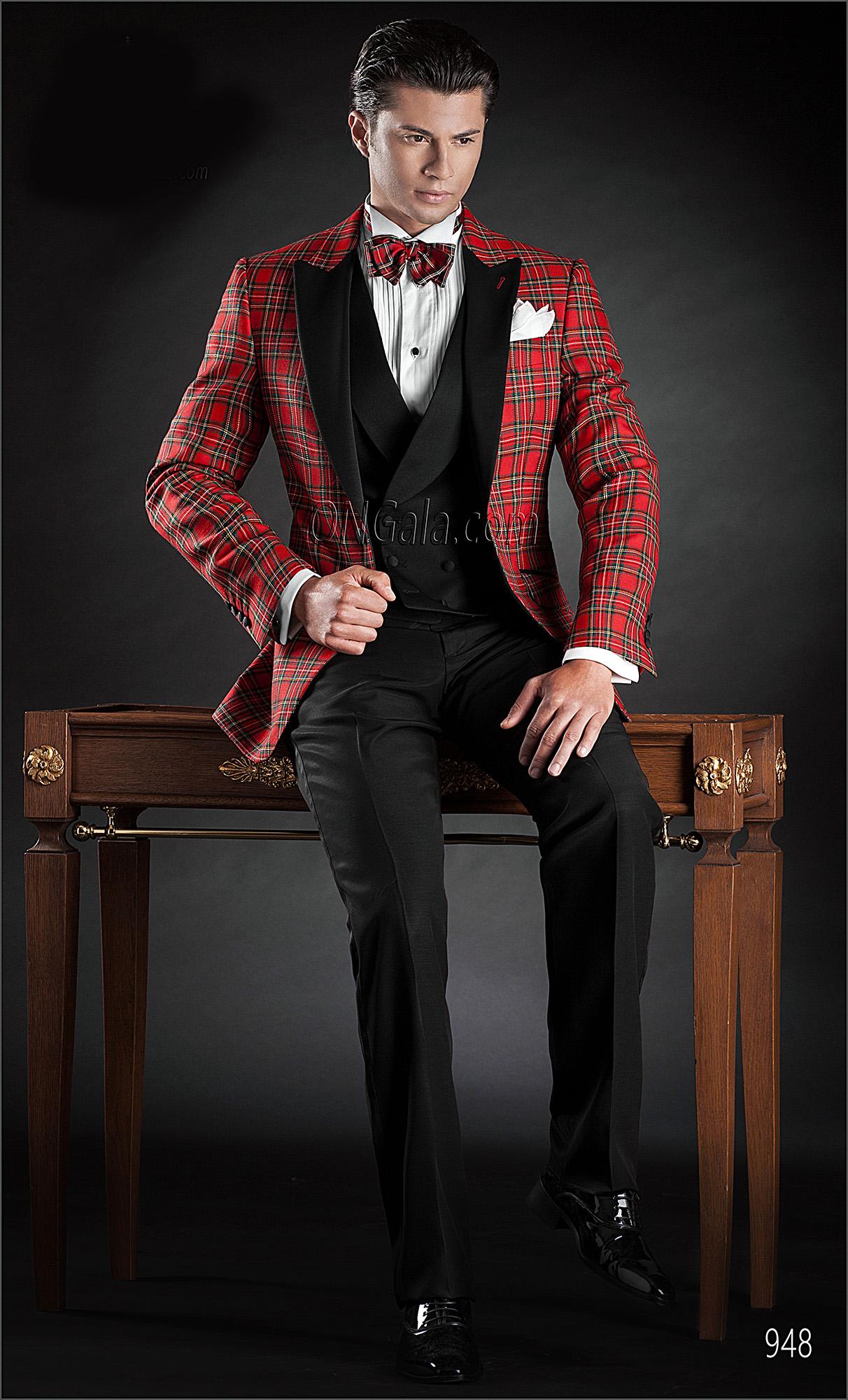 promo code 582e6 83078 Abito da sposo uomo con Giacca tartan rosso