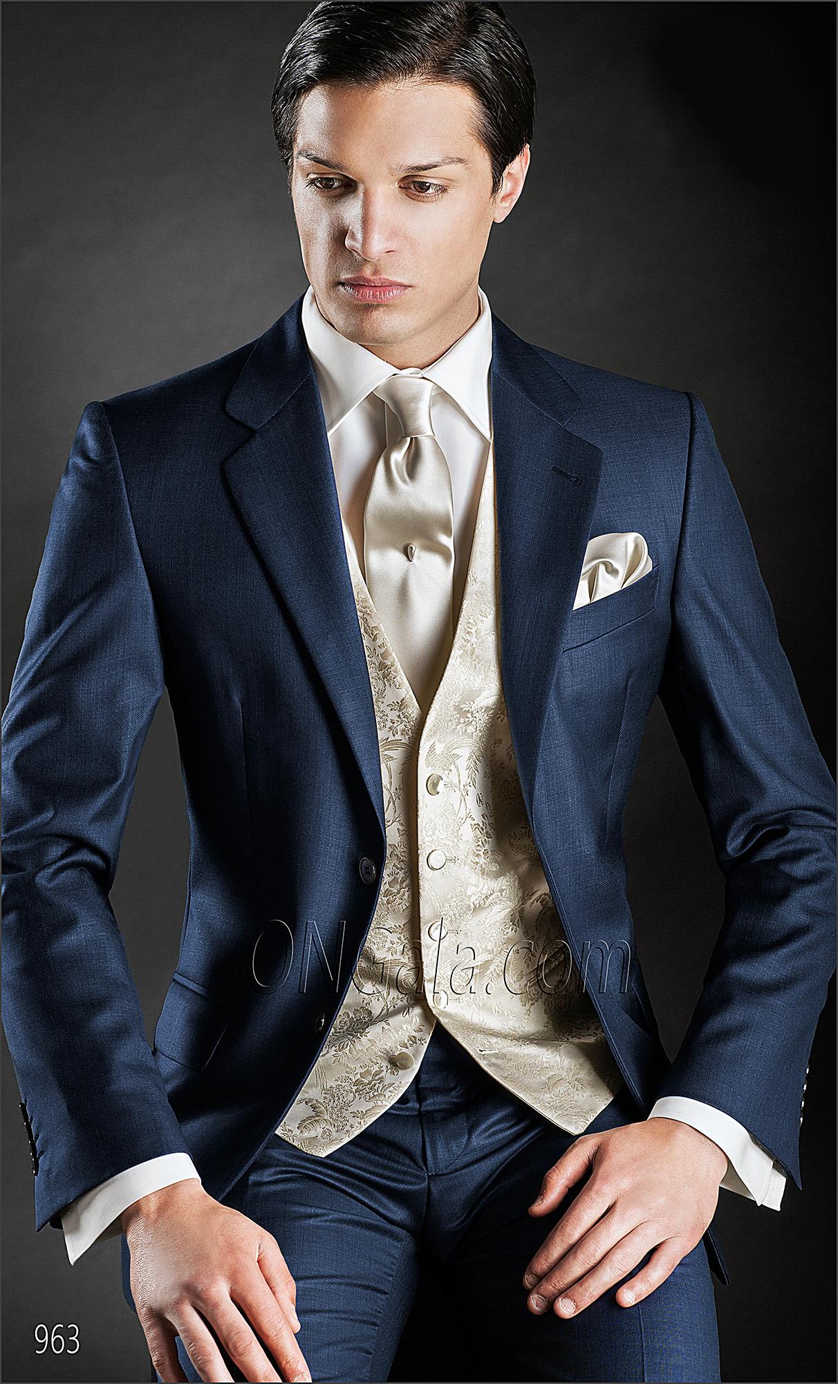 italienische hochzeitsanzug blau aus wollemischung