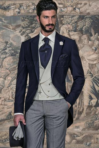 ONGala 1190 - Blue peak lapel long jacket for groom and striped pants