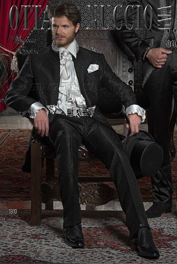 ONGala 1310 - Brocade black mandarin collar luxury tuxedo