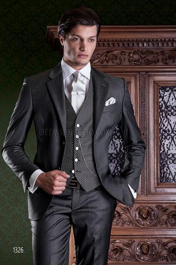 ONGala 1326 - Charcoal gray notch lapel formal suit