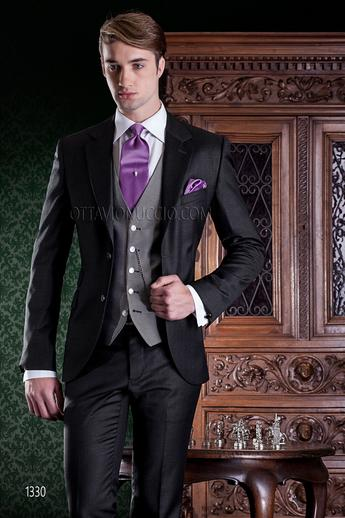 ONGala 1330 - Dark gray notch lapel pure wool business suit