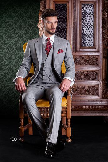 ONGala 1333 - Gray Prince of Wales notch lapel wedding suit