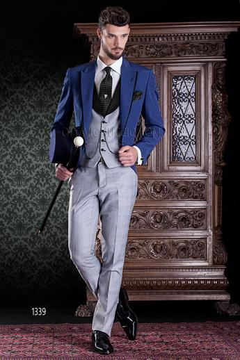 ONGala 1339 - Wedding suit with electric blue jacket and Prince of Wales vest and pants