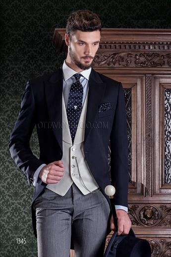 ONGala 1345 - Blue peak lapel morning coat with striped pants