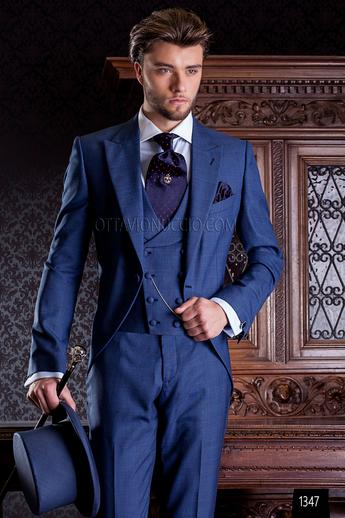 ONGala 1347 - Blue Prince of Wales wedding suit with double breasted vest