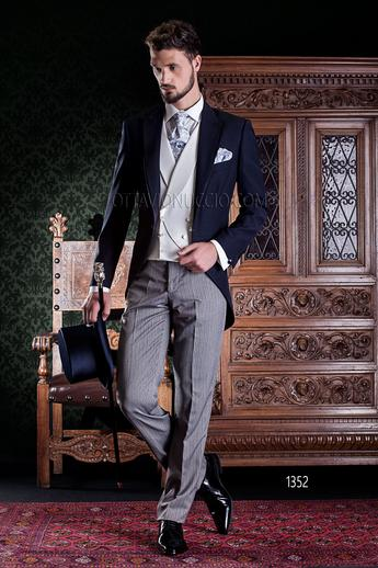 ONGala 1352 - Blue peak lapel morning suit with striped pants