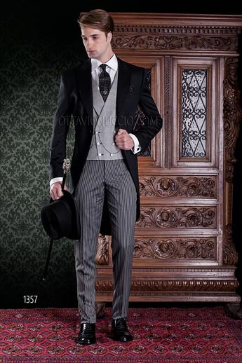 ONGala 1357 - Black long tail Italian tuxedo and striped pants